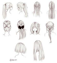 Girl Hair Drawing, Girl Drawing Sketches, Cool Art Drawings, Pencil Art Drawings, Sketch Art, Drawing Hair Tutorial, Hair Sketch, Anime Hair, How To Draw Hair