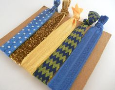 Blue and Gold/Yellow Sorority Hair Set by ARTbyKVB on Etsy, $4.50 Tri Delt! Delta Delta Delta Big Little!