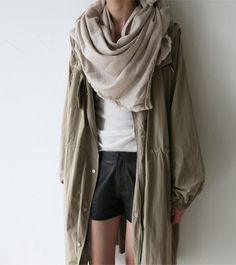Chunky Scarve & Leather Shorts
