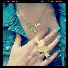 Collar venado y anillo cupido by Lina Hernández Joyas www.linahernandez.com