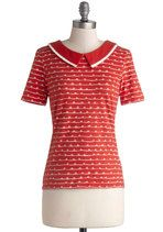 Arches, Loops, and Whorls Top | Mod Retro Vintage Short Sleeve Shirts | ModCloth.com