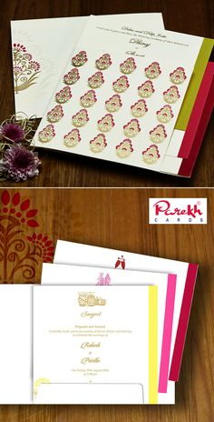 This unique style invitation card is made out of Ivory (Cream) paper board with matching mailing envelope. Card front has beautiful floral paisley design with colourful layered inserts inside give stunning look.