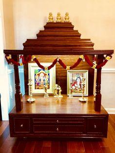 Custom Temple w/o Storage M# 1 - Divine Woodn Crafts Wooden Temple For Home, Temple Design For Home, Home Temple, Dressing Table Storage, Small Dressing Table, Pinterest Room Decor, Mandir Design, Pooja Mandir, Pooja Room Door Design