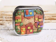 family house panorama in polymer clay on a box
