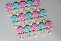 Gender Reveal Baby Rattle Decorated Cookies