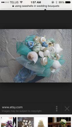 Aquamarine Seashell Bridal Bouquet and Bout by iDoArtsyWeddings Seashell Bouquet, Beaded Bouquet, Seashell Wedding, Under The Sea Theme, Silk Ribbon, Blue Crystals, Wedding Bouquets, Wedding Dresses, Rose Buds