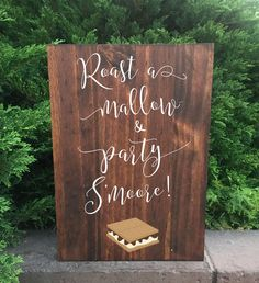 Smores Bar Wedding Sign - Roast A Mallow And Party S'more Stand Alone Wooden Wedding S'mores Bar Sign Display, Backyard, Signs, Home Decor, Wedding, Homemade Home Decor, Mariage, Patio, Billboard