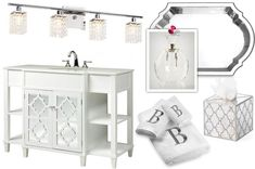 Feminine glam #bathroom #moodboard