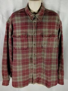 Outdoor Exchange Shirt Size XL Burgundy Gray Plaid Thick Cotton Long Sleeve #OutdoorExchange #ButtonFront