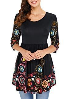 Aincrso Womens Floral Tunic Tops with Sleeves - Long Casual Floral Shirt Blouse with Round Neck – Buttons up Top Shirt Plus Size Business Attire, Flowy Shirts, Outfits Plus Size, Floral Tunic, Latest Dress, Long Tops, Boho Dress, Tunic Tops, Tunic Blouse