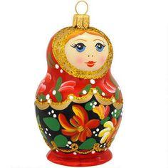 Matryoshka Doll Glass Ornament