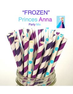 "Paper Straws Disney's ""FROZEN"" Party Mix Princess Anna Paper Drinking Straws Cake Pop Sticks Mason Jar Paper Straws Wedding, Birthdays on Etsy, $3.75"