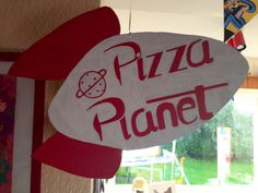 Pizza planet sign. Toy story party - perfect! We're getting pizza for Sjs party :)