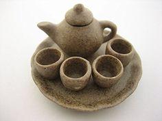 Dollhouse Miniatures Ceramic Kitchenware Coffee Tea Cup Tea Pot Set Supply 13241