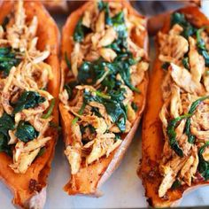 Baked Sweet Potato INGREDIENTS - Sweet potato - Chicken Breast - Burrito seasoning; 4 tbsp chlli powder 3 tbsp cumin 3 tbsp paprika 2 tbsp onion flakes 2 tbsp garlic powder 1/2 tbsp cayenne pepper - 2 cups Spinach METHOD 1⃣ Preheat oven to 180C/350F. Slice sweet potato into half and bake until soft. 2⃣ Season chicken with spices and leave to marinate for 10-15 minutes. Then bake chicken or panfry. 3⃣ When chicken it cooked, shred into fine pieces and fry over low heat with spinach until spi…
