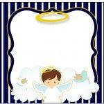Marmita Pequena Batizado Menino Azul Marinho e Branco