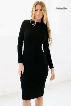 Black Mock Neck Midi Dress e18252ca7