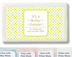Yellow Stars Baby Shower Personalized Mint Favors