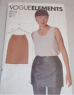 Vogue Elements Misses Skirt Sewing Pattern 9773 sizes, 6, 8, 10, 12, 14, 16, 18, 20, 22 micro-mini or mid-knee