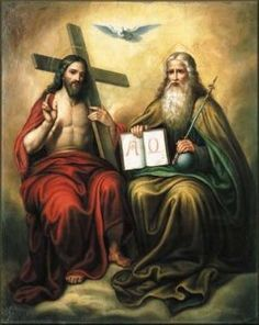 This image signify's the full awe of the holy trinity with the holy spirit represented by a dove, Jesus holding the cross in which he was killed on, and to the right of him is the almighty creator god. Image Jesus, Jesus Christ Images, Jesus Art, Religious Pictures, Jesus Pictures, Religious Art, Santicima Trinidad, Catholic Bible, Roman Catholic