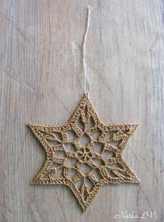 Here are 6 lovely crochet stars or snowflakes for your home or office decoration. They are suitable as decorations to Christmas tree, as a window decor or as wall hanging. Could be a perfect Christmas gift. Also can be a decoration for Hanukkah day as Magen David (Star of David)!  Diameter: about 5 (13 cm) for each star / snowflake. Materials: yarn. Color: beige with gold. Hand crocheted with love in a smoke-free, pet-free home.