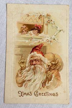 Xmas Greetings Antique Christmas Card Pink Suit Santa w/ Pack Meeker 1910 #Christmas