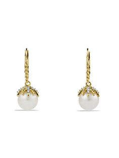 David Yurman - Starburst Drop Earrings with Diamonds and Pearls in Gold