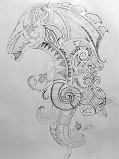 Maori style horse tattoo with some turtles... sea and land, animal spirits unite into soul