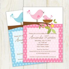 Baby Shower Birds Invitation 5x7  Printable by eloycedesigns, $10.00