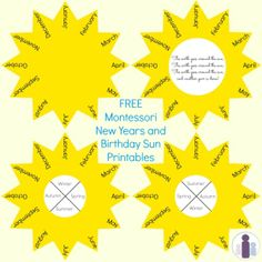 Free Montessori New Years and Birthday Sun Printables From Racheous - Lovable Learning