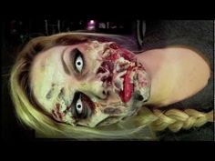 This is another tutorial using a homemade reusable gel recipe for zombie flesh - full_make_up_pintennium Zombie Prom, Zombie Walk, Zombie Makeup, Fx Makeup, Makeup Tricks, Beauty Makeup, Halloween Make Up, Halloween Face Makeup, Halloween Costumes