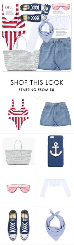 """""""blue, white and red"""" by duma-duma ❤ liked on Polyvore featuring J.Crew, Converse and Barneys New York"""