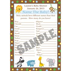 24 Personalized Baby Shower Baby Animal Name Game by partyplace, $14.00
