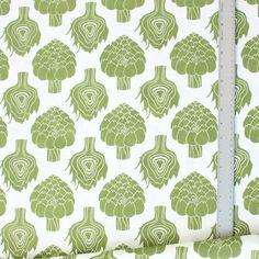 Fabric by the Yard   Moss Artichokes by foxyandwinston on Etsy, $48.00