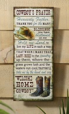 Cowboy Prayer Wooden Wall Sign - American Expedition