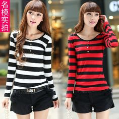 812 black and white stripe long-sleeve T-shirt female slim t-shirt lace decoration women lady female winter autumn trouser tops