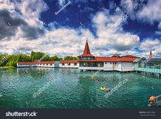 HEVIZ, HUNGARY - 13 AUGUST, Lake Heviz in Hungary on 13 August, Lake Heviz is the worldâ?s second-largest thermal lake, but biologically the biggest active natural lake Natural, Mansions, House Styles, Big, Image, City Landscape, Budapest, Hungary, 19th Century