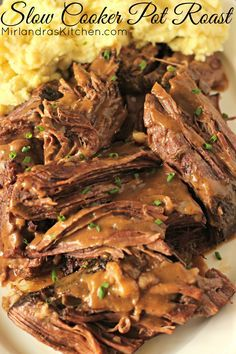 This Slow Cooker Pot Roast is the best pot roast I have ever made with any method! It takes just five minutes to get it in the slow cooker and the result is phenomenal. Juicy, tender beef with perfect seasonings and succulent sauce for gravy or to lick o Crockpot Dishes, Crock Pot Slow Cooker, Crock Pot Cooking, Beef Dishes, Slow Cooker Recipes, Cooking Recipes, Slow Cooker Roast, Crock Pot Roast, Cooking Kale