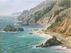 """""""Below Julia Pfieffer"""" - Mick McGinty 12"""" x 16"""" oil on panel ...the coast below Julia Pfeiffer State Park, Big Sur, Ca"""