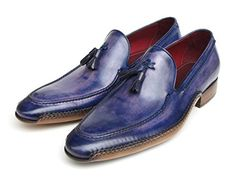 Paul Parkman Men's Side Handsewn Tassel Loafer Blue & Purple Shoes (Id#082)  http://www.thecheapshoes.com/paul-parkman-mens-side-handsewn-tassel-loafer-blue-purple-shoes-id082/