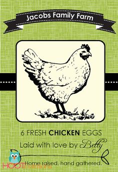 Custom Egg Carton Labels to print at home A4 by HOOTinvitations