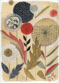 My Botanical artwork Susan Black, Art Journal Pages, Junk Journal, Mixed Media Artists, Zinnias, Art Journal Inspiration, Botanical Art, Vintage Paper, Collage Art