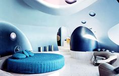 bedroom, Palais Bulles, Cannes, France, a 28 bedroom, bubble-shaped house by architect Antti Lovag.
