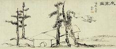 <세한도> 전체 <세한도> 그림부분 세한도(歲寒圖, 국보 제180호, 1844작) : 이 그림은 세로 23센티미터, 가로 108센티미터의 족자 형식으로 된 그림이다. 가로로 긴 화면에 쓰러져 가는 오두막집과 좌우로 소나무와 잣나무를 대칭되게 그렸고 나머지 화면은 텅 비어있어 한겨울의 매서운 추위가 뼛속까지 전해지는 듯하다. 그림의 우측 상단에 '세한도'란 화제와 우선시상(藕船是賞:우선 이상적에게 이것을 줌) 완당(阮堂:김정..