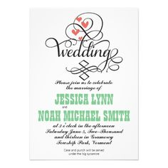 CLICK ON THE LARGER IMAGE FOR PRICING INFORMATION :: Vintage Whimsical Hearts Green Coral Invitation