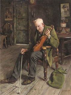 Painting by Charles Spencelayh (1865-1958), an English genre painter and portraitist in the Academic style.