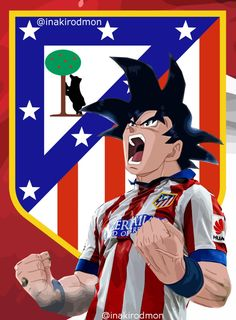 Goku por Fonsipp - Fondos de pantalla colchonero - Fotos del Atlético de Madrid Fotos Dragon Ball, Sport Football, Son Goku, Lionel Messi, Soccer Players, Disney Art, My Images, Captain America, Disney Characters