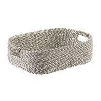 Grey & White Decorative Raffia Storage Basket with Handles