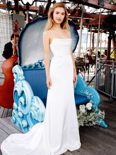 The new Lela Rose wedding dresses have arrived! Take a look at what the latest Lela Rose bridal collection has in store for newly engaged brides. Lela Rose Wedding Dresses, Couture Wedding Gowns, Bridal Dresses, Column Wedding Dresses, Slip Wedding Dress, Gown Wedding, Lace Wedding, Bridal Collection, Dress Collection