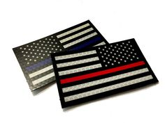 Thin Red or Blue Line Reflective VELCRO patch. (Empire Tactical USA)